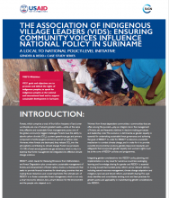 The Association of Indigenous Village Leaders (VIDS): Ensuring Community Voices Influence National Policy in Suriname