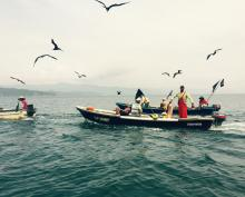 Three boats float on deep blue water, with seabirds flying above the boat occupants' heads.