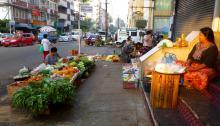 Morning Street Vegetable Stand in Rangoon
