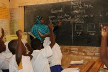 Teaching students in Kenya