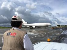 A cargo plane carrying USAID relief supplies for families affected by Hurricane Irma arrived in Antigua on September 14, 2017.