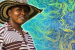 Colombian farmer; superimposed over a NASA graphic of sea surface currents and temperatures.