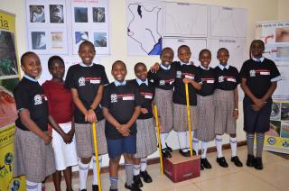 A group of elementary students poses for the camera in front of their work related to malaria transmisson in Africa.